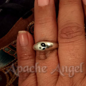 Yin Yang Sz 8 or 9.5 Sterling Silver Ring